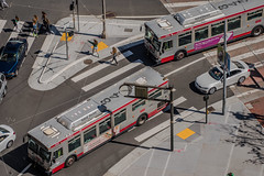 9th street traffic crunch (pbo31) Tags: bayarea california nikon d810 color march 2019 boury pbo31 stpatricksday civiccenter foxplaza siemer patrix over view city urban sanfrancisco marketstreet muni bus twin 9th roadway traffic