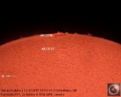 Sun in H-alpha (2) 24th March 2019 (Mary McIntyre FRAS) Tags: suninhalpha coronadopst asi120mc zwo sun prominences