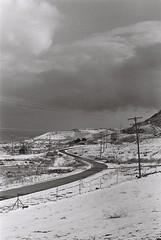 Winding Winter Road (iroc409) Tags: minolta xk rokkor 50mm ilford hp5 film 35mm blackandwhite bw