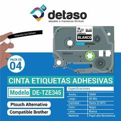 Pack 4 cintas Tze345 18MM color negro (Detaso) Tags: chile brother cinta etiqueta rotuladora etiquetas tze251 tze241 tze231 tze221 tze261 tze 24mm tze355 negra