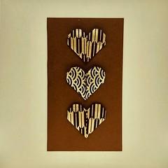 Hearts trio (anuradhadeacon-varma) Tags: darkblueandgold blackandgold brownandgold chiyogamioaper origamigreetings valentines love greetingscard origami triplehearts