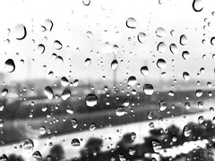 Through a glass, wetly (World-viewer) Tags: inclement foggy weather rainy pretty beautiful landscape view street city monochrome bw ngc travel nice artistic iphonese iphone bokeh window droplets drops water rain
