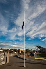 NZ Flag at half mast (johnstewartnz) Tags: newbrighton newbrightonbeach canon canonapsh apsh eos 1dmarkiii 1d3 1dmark3 1d 1dmkiii 1dmk3 1diii 100canon 1740mm 1740 ef1740mmf4lusm flag flagpole