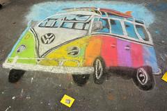 One colorful VW bus (radargeek) Tags: chickasha oklahoma 2018 april montmartrechalkartfestival chalk usao universityofscienceandartsofoklahoma vw volkswagen ok