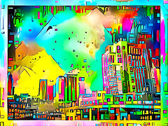 Lego City (jackaloha2) Tags: vivid colorful lego city urban artistic geometric fantasy buildings mountains futuristic abstract hss cccccccc