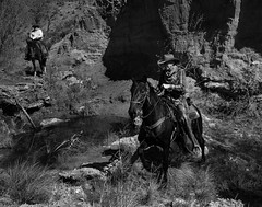 02469376422340-111-19-04-A Cowboy and His Horse-14-Black and White (You have failed me for the last time Jim) Tags: 2018 america april canon5dmarkiv mojavedesert nevada people redsprings tamron2470mmf28divcusdg2 usa calicobasin cowboy cowgirl horse horseback spring monochrome blackandwhite