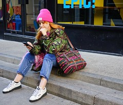 Girl in the pink hat (stephenjenkins25) Tags: colour street photography candid portrait girl pink hat sitting steps retro clothing