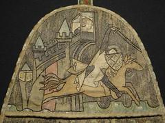 ca. 1330-1340 - 'alms purse (aumônière)', Paris, Teseum, Tongeren, province of Limburg, Belgium (roelipilami (Roel Renmans)) Tags: 1330 1340 alms purse aumônière almosentasche aalmoezenbeurs paris parijs bilzen alden biesen castle teseum tongeren tongres tongern belgium belgien loon limburg chateau 1335 knight ritter chevalier horse caballero cheval ridder paard cervelliere mail hauberk surcoat surcotte cotehardie cotehardy tippet tippets greave greaves embroidery lady courtly scene shield heart coif cotte de maille kettenhemd maliënkolder wappenrock judge beard old man kirtle schild heater french france francais broderie borduur almosenbörse sarrazinoise bouclier coeur escudo