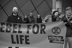 Extinction Rebellion - Rebel for Life (Bury Gardener) Tags: burystedmunds suffolk england eastanglia europe uk people peoplewatching folks nikond7200 nikon streetphotography street streetcandids snaps strangers candid candids 2019 britain bw blackandwhite monochrome mono arc thearc