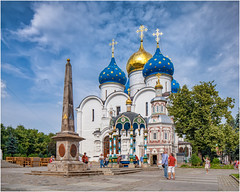 The Trinity Lavra of St. Sergius (Sergiev Posad, Russia) (KonstEv) Tags: church cathedral monastery russia sergiyevposad font orthodox сергиевпосад лавра architecture церковь собор chapel stele monument dome building cross