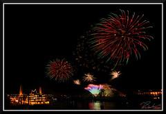 Fireworks_9153 (bjarne.winkler) Tags: new year fireworks over sacramento river california tower bridge pyramid ziggurat building delta king