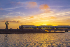 The San Diego Coaster train through a few phases of tonight's sunset near Torrey Pines State Beach [2/3] (slworking2) Tags: sandiego california unitedstatesofamerica us torreypinesstatereserve torreypinesstatebeach coaster train delmar sunset clouds sky water lagoon