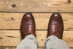 Shades of brown (Barrie T) Tags: smileonsaturday shadesofbrown brogues shoes home canoneos6dmkii sigma24105mm floorboards