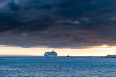 Cruise Ship under a heavy Cloudbank (Merrillie) Tags: nobbysbeach stocktonbeach nature water newsouthwales sea stockton beach ocean nobbysbreakwater piratepoint outdoors breakwall daybreak landscape shipwreckwalk cloudy australia nobbyshead clouds earlymorning cloudbank headland morning dawn sunrise newcastlebreakwall nsw sky seascape coastal coast waterscape newcastle
