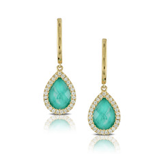 18k Yellow Gold Diamond Earrings With Clear Quartz Over Amazonite Tear Shaped (diamondanddesign) Tags: 18kyellowgolddiamondearringswithclearquartzoveramazonitetearshaped e7106az 18k yellow gold amazon breeze doves earrings 024 ct diamond clear quartz over amazonite front