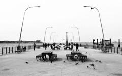 Bay Ridge Pier (neilsonabeel) Tags: nikonn90s nikon nikkor blackandwhite bayridge brooklyn newyorkcity