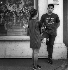 Listening (Beegee49) Tags: street people monochrome blackandwhite bw luminar sony a6000 bacolod city philippines asia