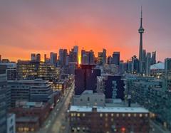 Before the Storm (JamesAnok    ThetaState) Tags: kingstreetwest downtown cntower mauve orange pink red cityscape urban dawn sunrise canada ontario toronto