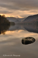 High Waters (jeanette_lea) Tags: landscape united kingdom isthmus bay derwentwater keswick the lake district cumbria sunrise dawn lowlight fells rock reflections clouds water trees
