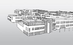 Technologie Park, Karlsruhe, Dezember 2018 (stevefaradaysketches) Tags: technologiepark karlsruhe urbansketch urbansketchers usk offices buildings businesspark onlocation fineliner view cityscape architecture