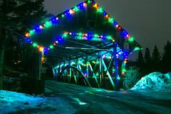 Colorful Bridge (Northern Wolf Photography) Tags: 14mm bridge christmas coveredbridge em5 lights night olympus road snow pittsburg newhampshire unitedstatesofamerica us