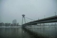 Most SNP (danstephen17) Tags: most snp bratislava slovakia europe bridge road building river danube winter snow grey water sky clouds