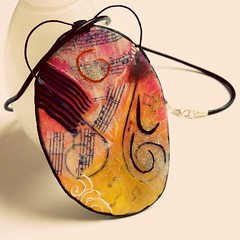 Large Pendant Necklace, Music (Bedecked Beads) Tags: polymerclaypendant polymerclaynecklace polymerclayjewellery music largenecklace polymerclay wirework jewellery musicnecklace