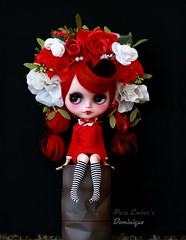 As red as roses <3 (pure_embers) Tags: pure embers blythe doll dolls custom photography takara neo uk laura england girl pureembers dominique nanuka vampire red alpaca hair flowers roses headband sitting dress leocouture littlemimstinythings vampiregirl