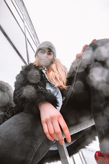 MERIT-2150149 (qauqe) Tags: tartu estonia model female girl woman beanie chick fashion ootd leica timberland footwear red urban streetwear furcoat fur jacket smile laughter winter
