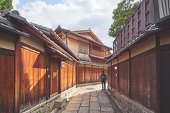Old district at Kyoto #2 (French Vadrouilleur) Tags: japan kyoto traditional streets allay ancien wood gates architecture student cloudy patience waiting lonely alone