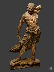 Kongo Rikishi (Vajrapani), Agyo (bouche ouverte). (sylvain.collet) Tags: sculpture japon kamakura museeguimetartsasiatique bois colere homme muscles statue asie