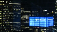 Big Data (Robert Saucier) Tags: newyorkcity newyork nyc manhattan building architecture nuit night noflash barclays bleu blue lumières lights fenêtre window noir black broadway img4292