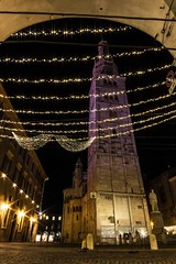 Tower dressed up for party (Luca Nacchio) Tags: torre ghirlandina modena notte rosa giro italia 1300d canon foto photo photography tower sky sunset reflex architettura architecture unesco night rose tour italy festa party luci lights