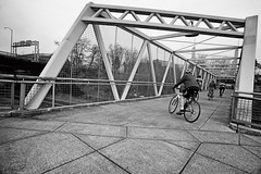 Bicycle Line (Ian Sane) Tags: ian sane images bicycleline cyclists pedestrian bridge lloyd district portland oregon vera katz eastbank esplanade blackwhite monochrome candid street photography canon eos 5ds r camera ef1740mm f4l usm lens