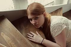 Mathilde. (Nicolas Fourny photographie) Tags: canon 600d 50mm model beauty portraiture womanportrait girlportrait redhead redhair home naturallight sensual sensuality romanticism beautifulgirl beautifulwoman stairs