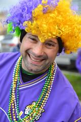 Ready with the Mardi Gras hair (radargeek) Tags: childrensparade mardigras lakecharles la louisiana 2019 march parade beads necklace smile yellowhair purplehair greenhair