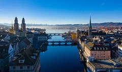 Zürich, Februar 2019 (simon_walser) Tags: grossmünster fraumünster frauenbadi zürich zurich arealphotogrphy switzerland church kirchen city stadt stadtzürich zurichcity airpic dji djimavic2pro mavic2pro drone dronephotography