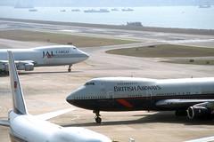 British Airways 747 'G-BDXC' (Longreach - Jonathan McDonnell) Tags: britishairways boeing 747 scan scanfromaslide 1990s 747200 747236 579008 hongkong gbdxc jalcargo kaitak
