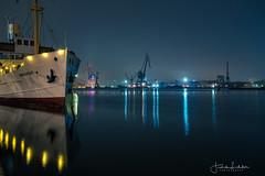 Gothenburg Night (Fredrik Lindedal) Tags: ship boat harbor cranes reflection reflections water nikon night nightshot nightlights nightphoto nightfall nighshoot nightshoot gothenburg göteborg göteborgshamn götaälv sweden sverige lindedal
