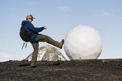 Kickin the Ball Around (JeffAmantea) Tags: antarctic nasa mcmurdo station south landscape person man volcanic mountain sony alpha sonyalpha a7ii 70200 f4 hike hiking soccer radar football
