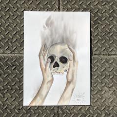Memento Mori (id-iom) Tags: idiom penge walking awkward skull hands smoke burning yorrick urban street art graffiti