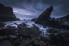 Permenande (Asturias, Spain) (Tomasz Raciniewski) Tags: seascape asturias el franco ocean sea beach playa clouds rocks cantabrico mar agua 1020 wide angle sigma d3200 sunset blue waves