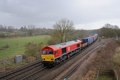 66-094-3F04-Hatton-North-Junction-14-3-2019 (D1021) Tags: shed 66094 3f04 containers intermodal mod ews dbs db dbschenker hatton hattonstation hattonnorthjunction signal colourlight colourlightsignal nikond300 d300