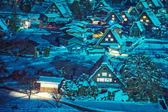 The landscape of Japan. Shirakawago twightlight. Historic Village of Shirakawago in winter, Shirakawa is a village located in Ono District, Gifu Prefecture, Japan. Feb 1, 2019. (pomp_jaideaw) Tags: shirakawago japan winter village snow shirakawa heritage world gifu japanese historic go asia old scene house culture historical town unesco travel white season view traditional tourism cold scenic landmark famous landscape architecture asian sightseeing festival night light snowy tourist up street gassho roof twilight thatched illumination lightup sony a7iii
