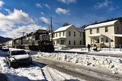 Walk The Dog (csx7661) Tags: norfolksouthern train locomotive emd tyrone pennsylvania pa blaircounty snow winterstormharper cold winter ice clouds sky