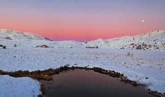 The silence of a snowy evening (amalia lampri) Tags: snow winter sunset moon landscape lake metsono epirus aooslake
