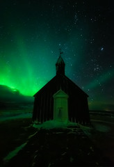 Black Church Budir Aurora (ernogy) Tags: outdoors landscape architecture arctic travel stars church night astrophotography ernogy blackchurch snaefellsness auroraborealis aurora northernlights iceland