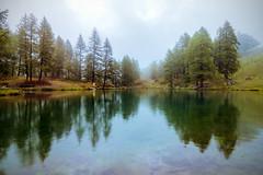 Lago Blu (Cervinia) (Ondablv) Tags: cervinia breul lago blu alpino nuvole bosco abeti massiccio ondablv alberi riflessi reflectio cloudy nebbia