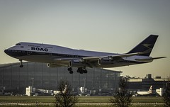 British Airways 747-400 in BOAC Livery (Tim Bullock Photography) Tags: british airways boeing 747 retro boac livery plane aviation sunrise golden hour vintage london heathrow landing travel flying lightroom