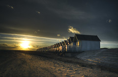 West Mersea Sunset (nigdawphotography) Tags: beachhuts beach coast sunset sky sand merseaisland westmersea essex